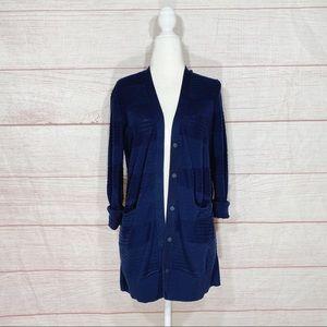 CAbi Navy Blue Long Classic Cardigan Sweater